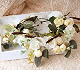 New Elegant Rose Flower Crown for Women and Girl Kids Head Wreath Bridal Headpiece Hair Accessories Wedding Party Ivory