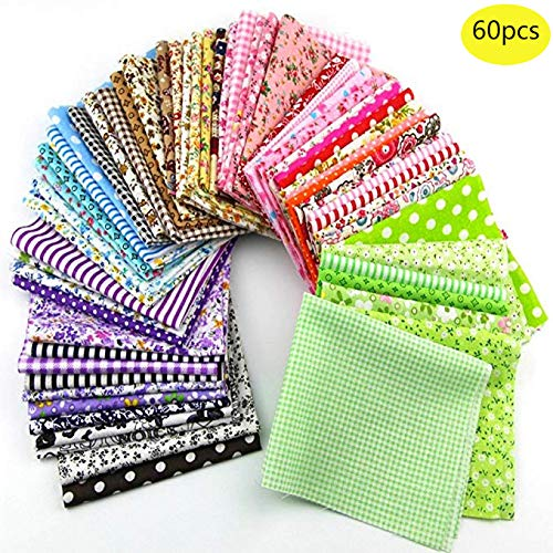 60 Pcs Assorted Craft Fabric Bundle Squares Patchwork Fabric Sets for DIY Sewing Scrapbooking Quilting Dot Pattern ()