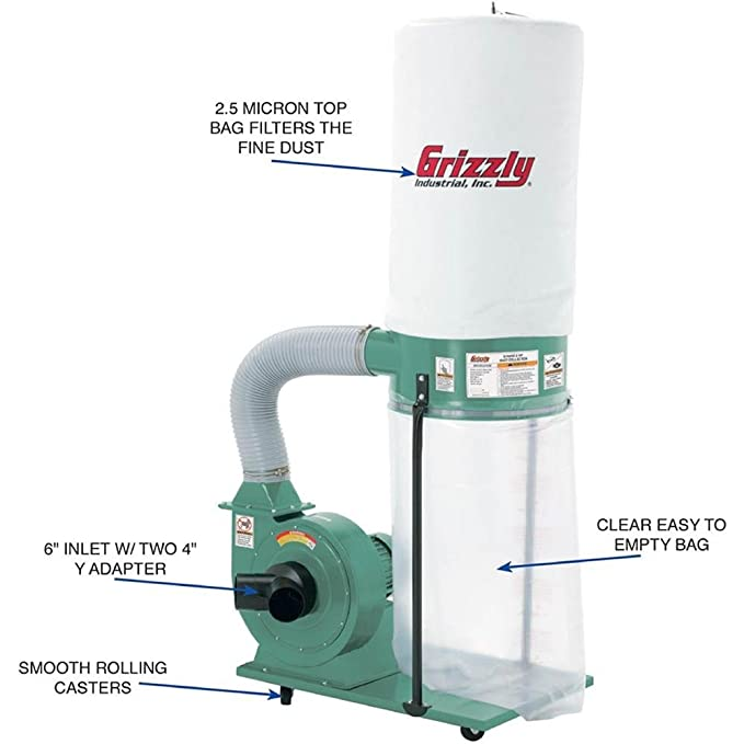 grizzly g1028z2 1-1/2-hp dust collector: .ca: tools & home ...