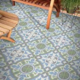 "Moroccan Mosaic & Tile House CTP05-08 BAHA Handmade Cement Tile 8""x8"" Blue, Green, Grey"