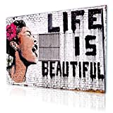 """Alonline Art - Life Is Beautiful Banksy PRINT On CANVAS (Synthetic, UNFRAMED Unmounted) 36""""x24"""" - 91x61cm Oil Paintings Prints Oil Painting Print Canvas For Kitchen Oil Painting Printed On Canvas"""