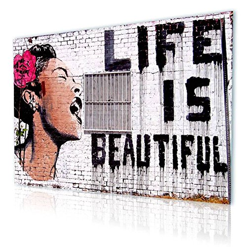"Alonline Art - Life Is Beautiful Banksy PRINT On CANVAS (Synthetic, UNFRAMED Unmounted) 36""x24"" - 91x61cm Canvas For Home Decor Canvas For Living Room Artwork Oil Paintings Prints Wall Art Pictures"