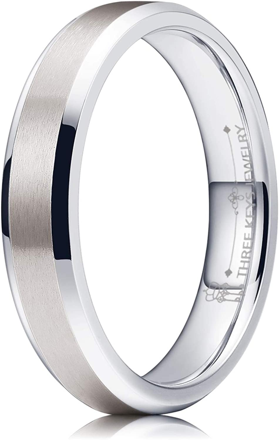 THREE KEYS JEWELRY 4mm 6mm 8mm Tungsten Titanium Wedding Rings Mens Womens Silver Engagement Bands