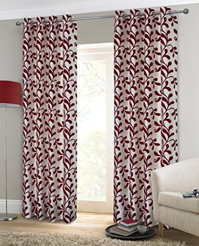 - Alexandra Cole Girls Swirl Leaf Window Curtains Faux Silk Flock Printing Curtain 2 Panels for Bedroom Living Room 54x84