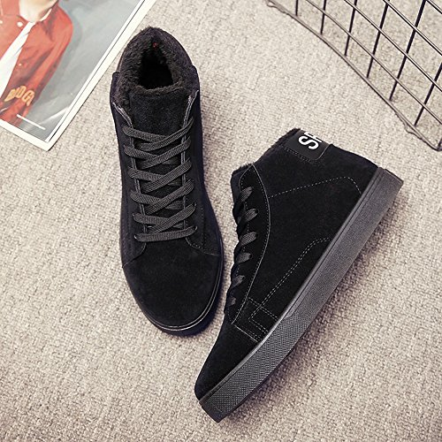 Men's Shoes Feifei High Quality Material Winter High Help Leisure Keep Warm Snow Boots 3 Colors (Color : Black, Size : EU40/UK7/CN41)