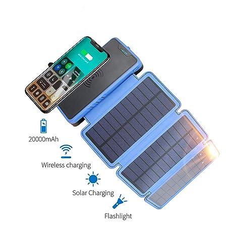 MYYING ELE Qi Cargador Solar inalámbrico, Banco de energía ...