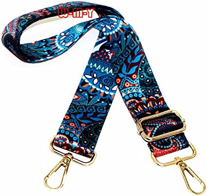 With 2Pcs Gold Metal Buckles Style3 Selling Wonderful 2 Wide 28-50 Adjustable Length Handbag Purse Strap Guitar Style Multicolor Canvas Replacement Strap Crossbody Strap