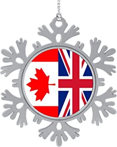 BUN T Canada and UK British Flag Personalized Christmas Snowflake Ornaments Alloy Xmas Tree Hanging Decorations