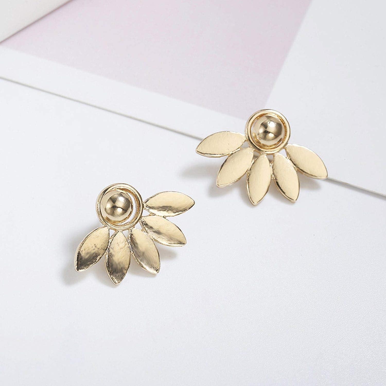 Flower Metal Stud Earrings for Women Rose gold color Double Sided Fashion Jewelry Earrings female Ear brincos Pending