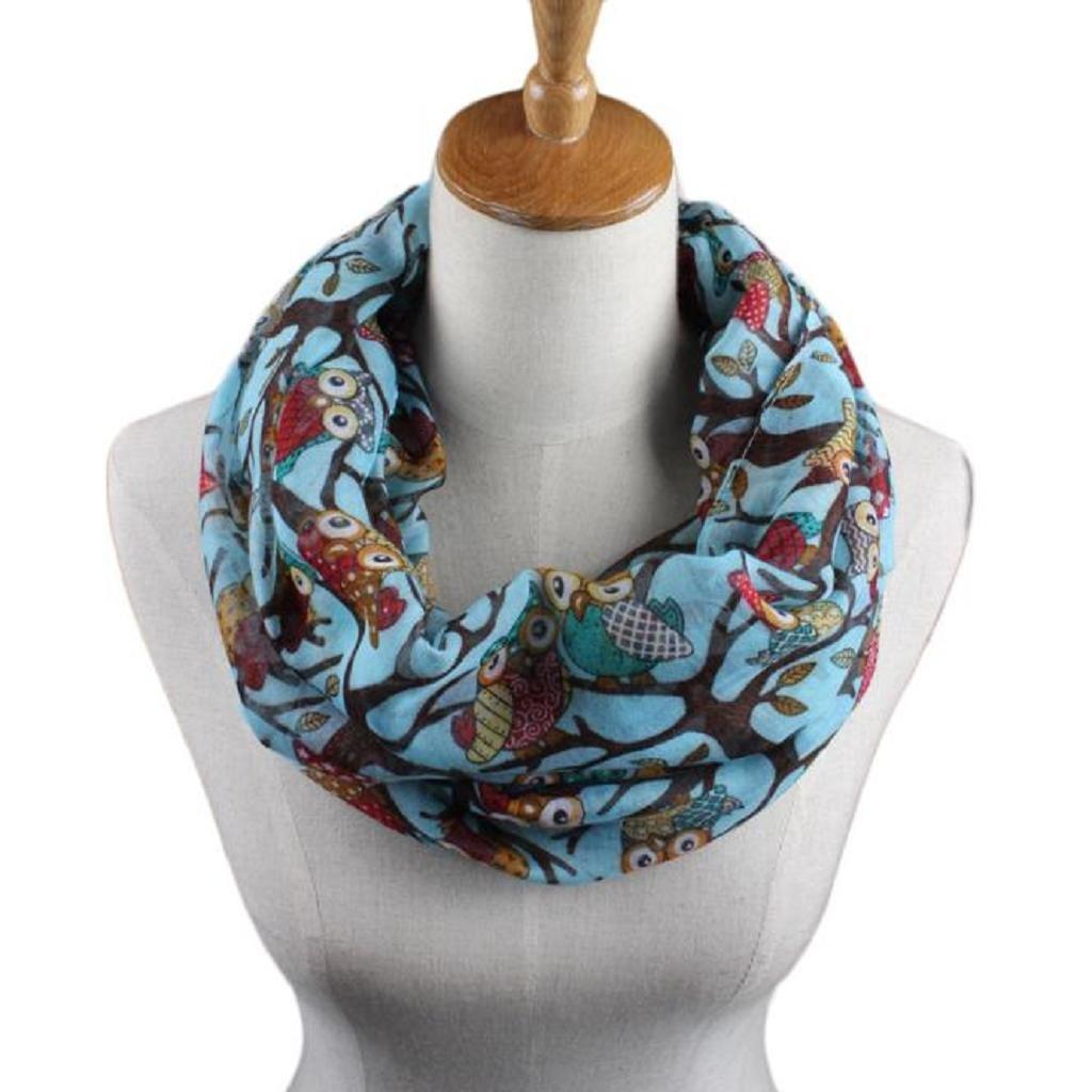 Pingtr Women Scarves, Women Ladies Owl Pattern Print Scarf Warm Wrap Shawl Soft Scarves SDF269