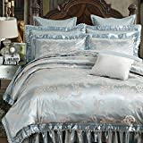 Floral Jacquard Blue Duvet Cover Set Cotton Silky Satin Queen Size Bedding Set European Style Vintage Wedding Bedding Cover Set Hotel Luxury Ultra Soft and Warm Autumn Winter Duvet Cover Set, Style6