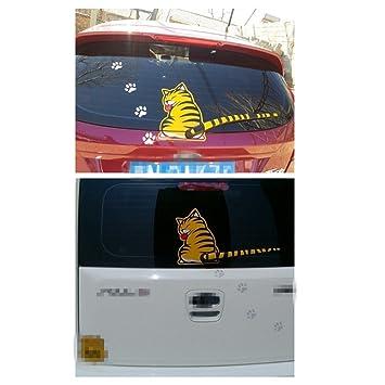 Wiper Sticker Yellow Cat Car Tail Window Wiper Decal Sticker - Car window stickers amazon uk