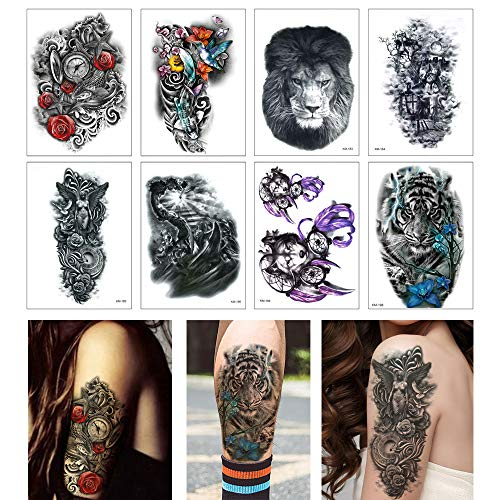 8 Sheets Temporary Tattoo Sticker for Women Men Tiger Wolf Lion War Design Fake Tattoo (The Best Tiger Tattoo Designs)