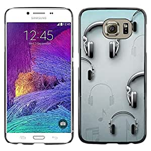 Be Good Phone Accessory // Dura Cáscara cubierta Protectora Caso Carcasa Funda de Protección para Samsung Galaxy S6 SM-G920 // Music Grey Dj Sound