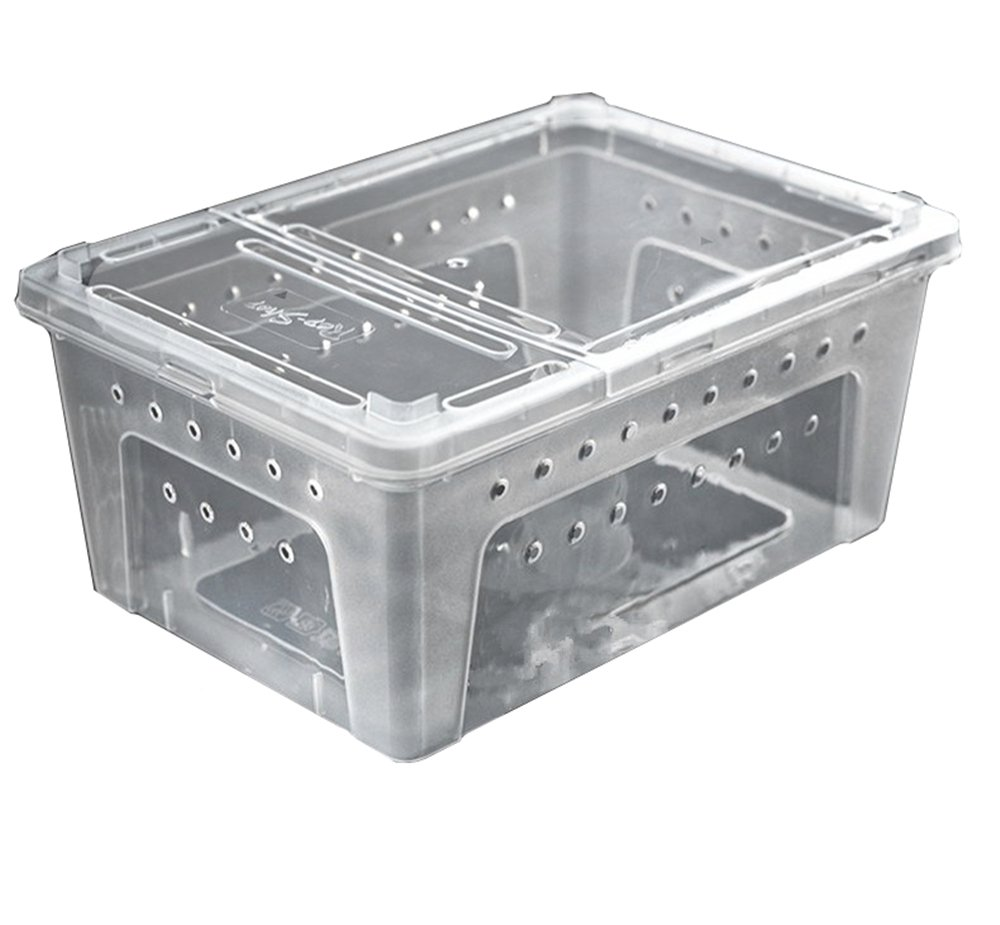 DREAMER.U Portable Reptile Terrarium Habitat Reptile Hatching Container for tarantulas, geckos, crickets, snails, hermit crabs, frogs, lizards, baby tortoise and snakes (Large, White) by DREAMER.U (Image #2)
