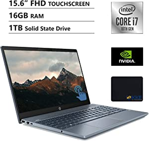 "HP Pavilion 15.6"" FHD Touchscreen Laptop, Intel i7-1065G7, 16GB RAM, 1TB SSD, GeForce MX250, B&O Play Audio, Backlit Keyboad, KKE Mousepad, Fog Blue, Win10 Home"