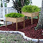 YAHEETECH Wooden Raised/Elevated Garden Bed Planter Box Kit for Vegetable/Flower/Herb Outdoor Gardening Natural Wood, 49 x 23.2 x 30.1in 15 Natural solid wood: This natural raised garden bed is made of non-paint, harmless 100% solid wood, which is known for its strength and dimensional stability as well as its natural resistance with a pleasing wooden smell. It is normal that there are wood knots on the surface. That's a natural phenomenon when the wood is growing. Single piece of side plate: Comparing to other planting beds that have several small pieces of wooden plates at the side, our planting raised bed has a piece of complete side plate at each side of the garden bed. This single-piece design makes the whole structure very stable, and the installation very easy. The side plates are fixed firmly without leakage of soil. Backache-friendly design: Given its 76.5cm/30.1'' height, people with backache/knee pain can easily manage the plants without bending down and taking the risk of pain. The thick solid wood boards are sanded well to prevent any undesired injury caused by wood splinters.