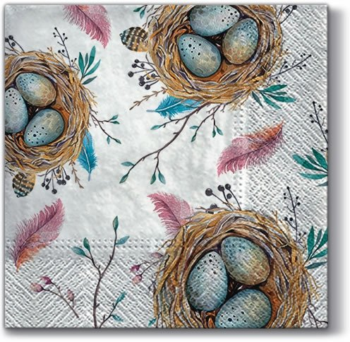 - Easter Paper Luncheon Napkins 40pcs Easter Nest with Blue Eggs Pink Feather
