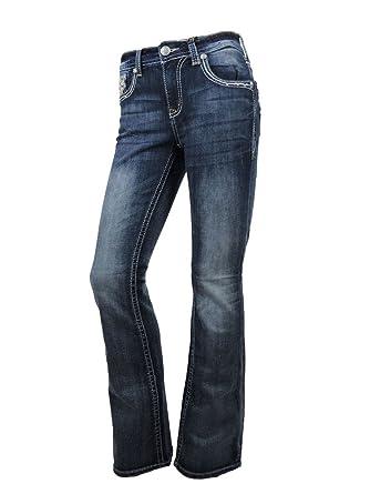99febdb8799 Grace L.A. Idol Women Bootcut Jeans Fleur Leather Bold Stitching Stretch Dark  Blue at Amazon Women s Jeans store