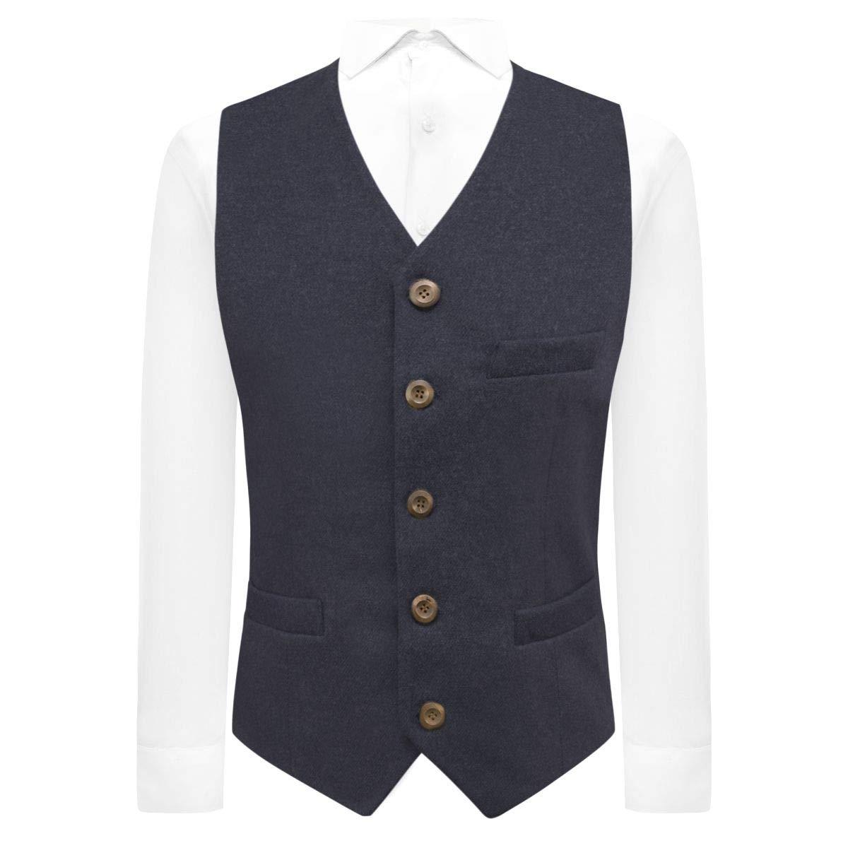 King /& Priory Luxury Navy Blue Donegal Tweed Waistcoat