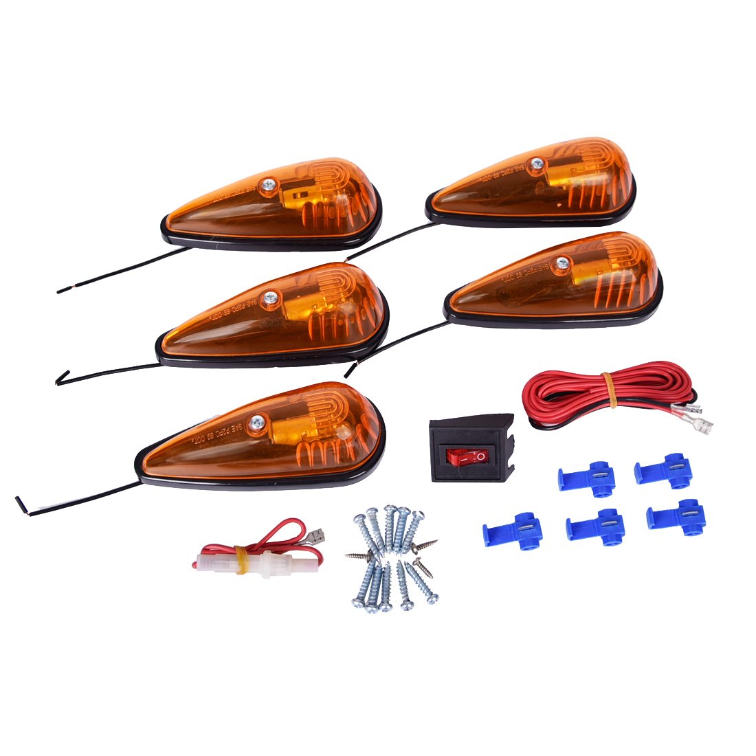 CZC AUTO 5 Pack 5-1/2 inch Amber Teardrop Cab Clearance Marker Roof Running ID Light Kit with on/off Switch, Front Rear Top-Mounted for Trailer Truck RV Pickup Semi Van Boat Camper Bus Sedan 10157