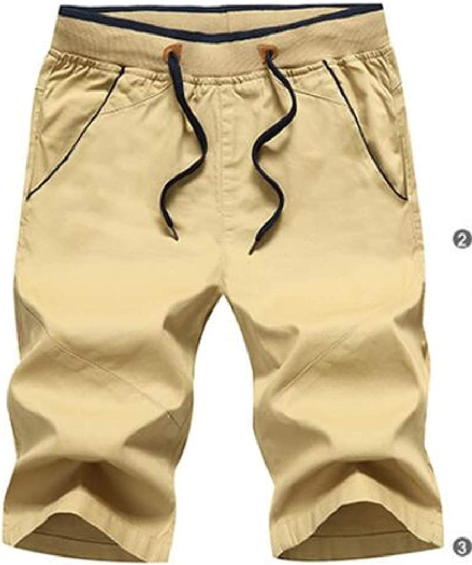 Heless Mens Summer Cotton Straight Leg Casual Solid Color Flat-Front Dress Shorts Pants