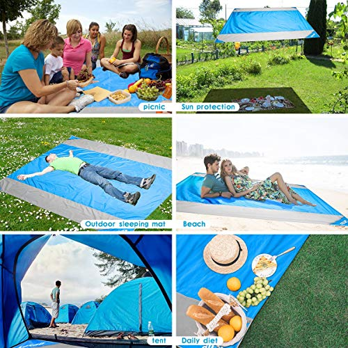 Beach Blanket, OUSPT Sand Free Picnic Outdoor Mat- Large 78'' x 82'' - Pocket Zippered Portable Waterproof Soft Fast Drying Nylon Oversize Blanket for Travel Camping Hiking (Blue)