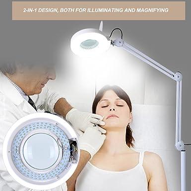 Amazon.com: 8X Lupa LED Lámpara Soporte de Suelo con 4 ...