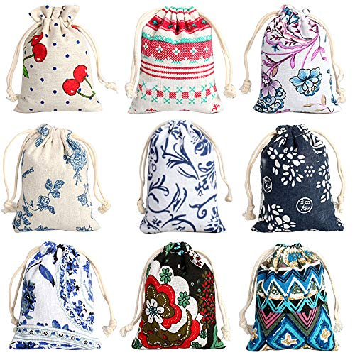 CORCIO 18Pcs Burlaps Bags with Drawstring, Fabric Gift Bag Packing Storage Linen Burlap Jewelry Pouches Sacks for Wedding Party Shower Birthday Christmas Jewelery DIY Craft