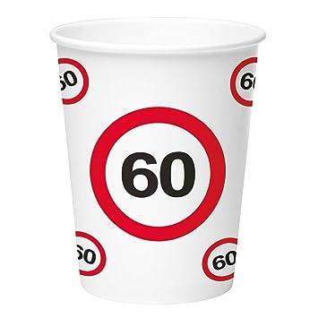 Folat 60 Cumpleaños Señal de tráfico, 8 Tazas