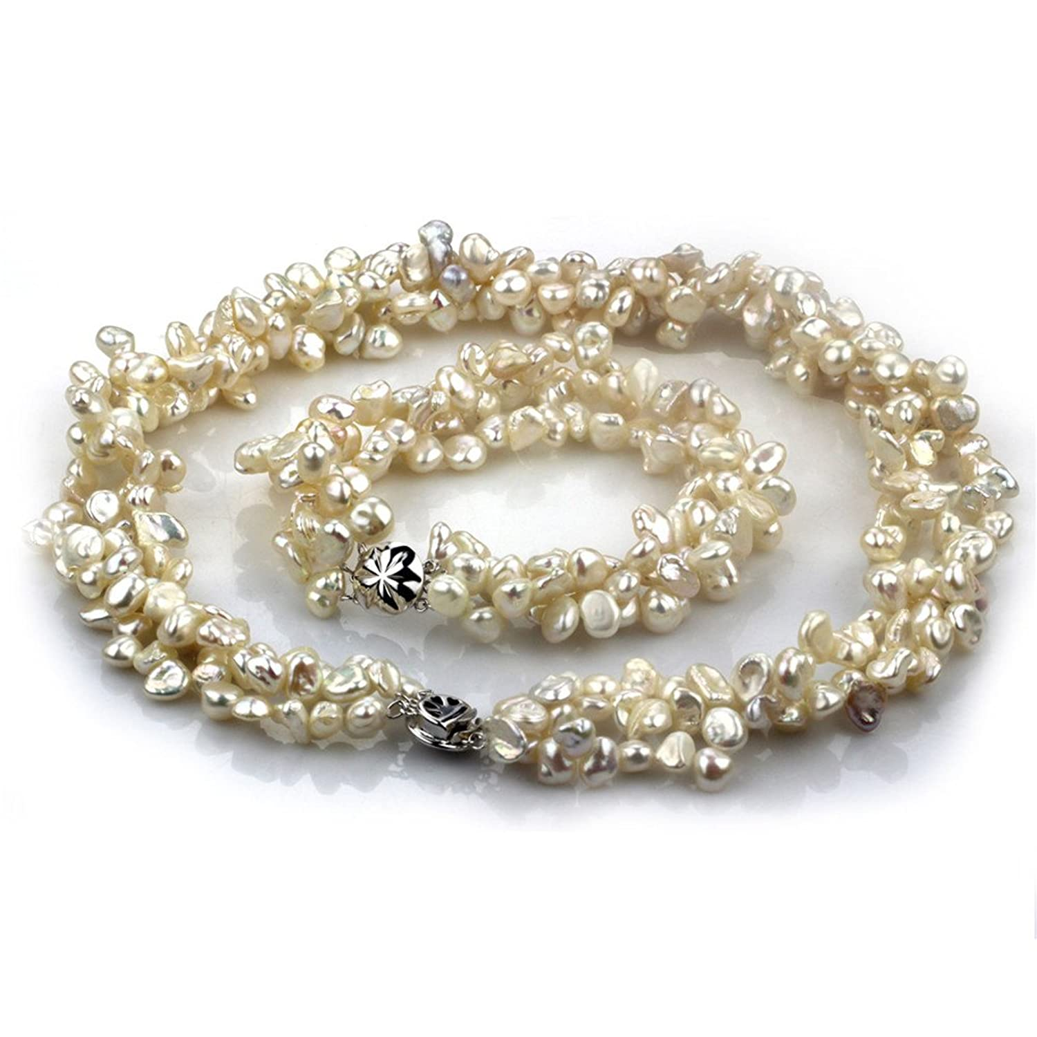 Chpel 5-7mm keshi freshwater cultured pearl necklace 18'' bra 8'' AA quality