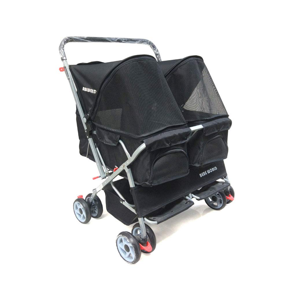 Black A3 Pet Sports Car Dogs Cats with Four Wheels Double Sleeping Pet Cart Front Wheel 360 Degree redation Pet Travel Stroller. Dog cart (color   Black)