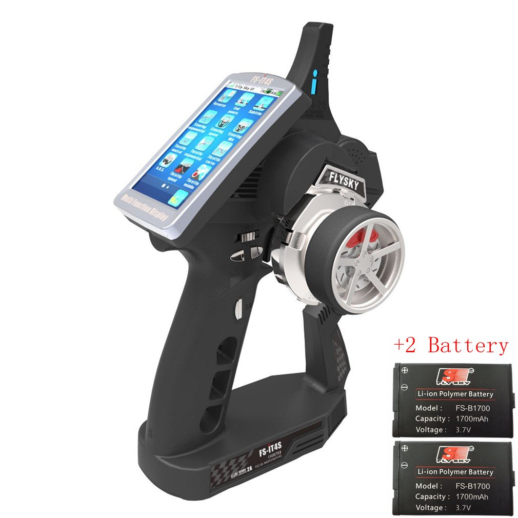 Qwinout Flysky FS-IT4S 4CH AFHDS 2 RC Boat Car Radio System Transmitter with Touch Screen FS iT4S Better than iT4 i4