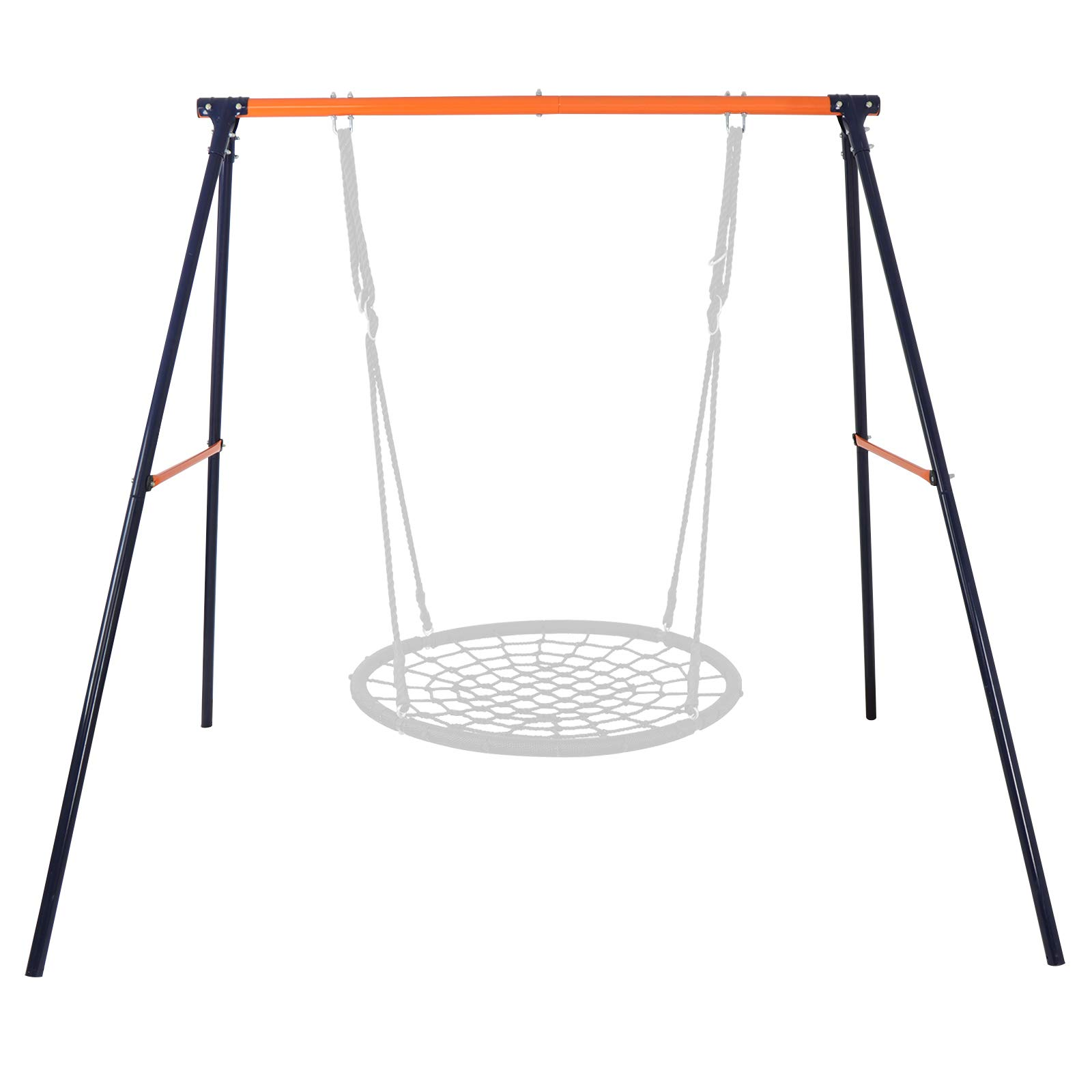 SUPER DEAL Extra Large Heavy Duty All-Steel All Weather A-Frame Swing Frame Set Metal Swing Stand, 72'' Height 87'' Length, Fits for Most Swings, Fun for Kids (Swing Frame)