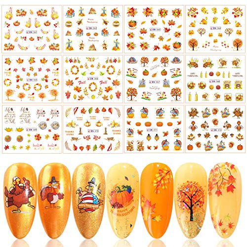 Fall Nail Art Stickers Thanksgiving Nail Decals Accessories,UNIME 12 Sheets Autumn Maple Leaves Pumpkin Water Transfer Nail Stickers Adhesive Nail Tattoos for Women Girls DIY Nail Tips Decorations