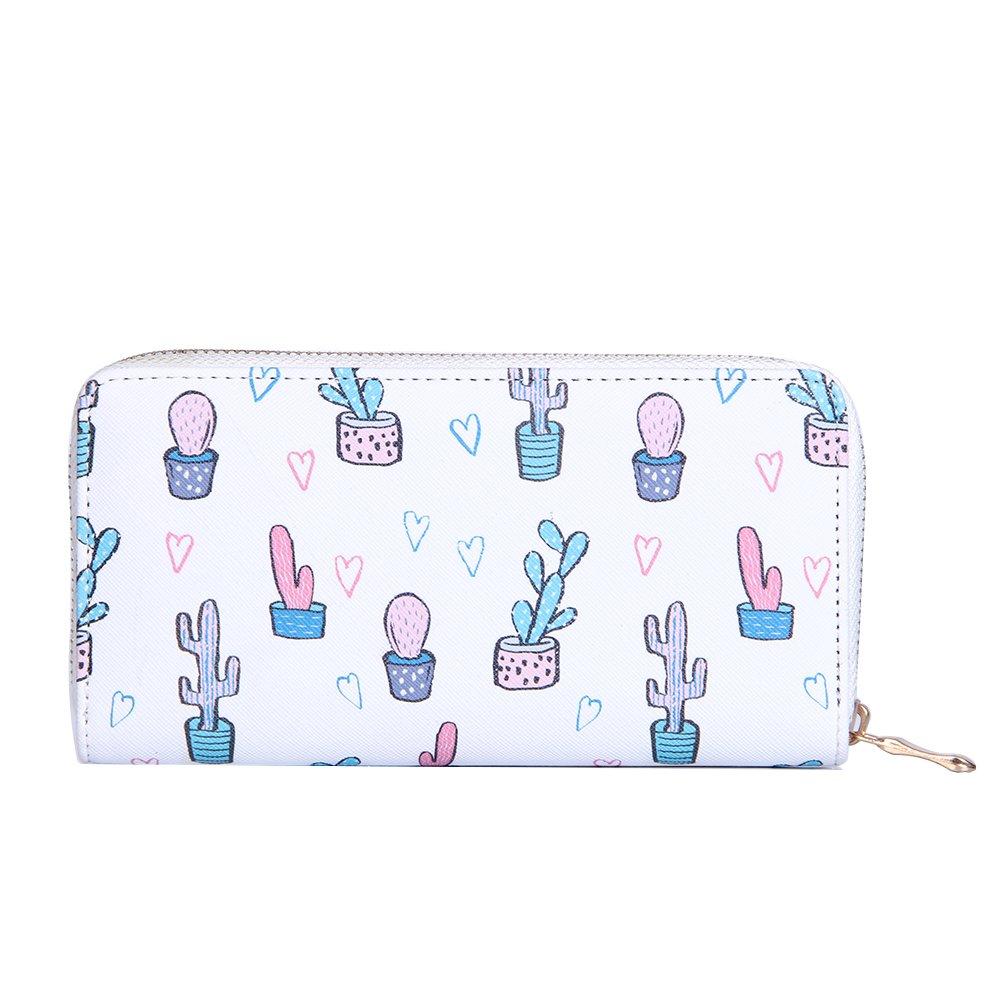 Badiya Cactus Plant Printing Long Wallet PU Women Card Holder Bag Girls Zipper Bag WW07333