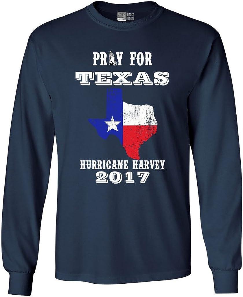 Long Sleeve Adult T-Shirt Pray for Texas Map Hurricane Harvey Survivor 2017 DT