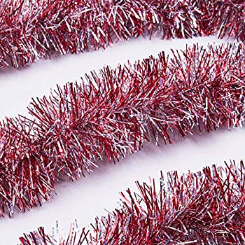 iPEGTOP Christmas Tinsel Garland, Classic Thick Colorful Reflections Shiny Sparkly Soft Party Hanging Tinsel Ornaments Ceiling Christmas Tree Decorations, 3Pcs x 6.6ft by 4 inch Wide - Red
