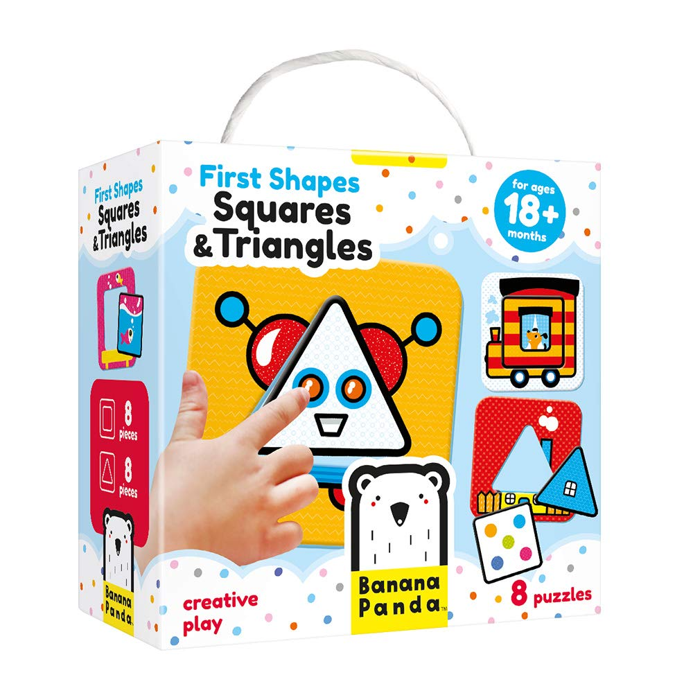 Banana Panda First Shapes Squares and Triangles Beginner Puzzle Set and Learning Activity for Kids Ages 18 Months and Up