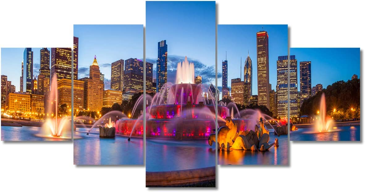 """TUMOVO Native American Wall Decor Chicago Skyline Paintings America Cityscape Artwork Chicago Buckingham Fountain Canvas Wall Art Framed Modern Artwork Home Decorations (60"""" Wx32 H)"""