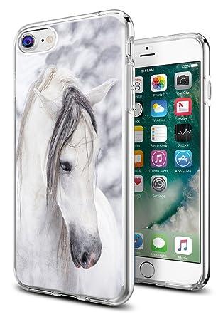 iPhone 8 Case Horse,iPhone 7 Case Horse,Gifun Anti-Slide Clear Soft TPU Premium Flexible Protective Case for Apple iPhone 8/iPhone 7 - Beautiful White ...