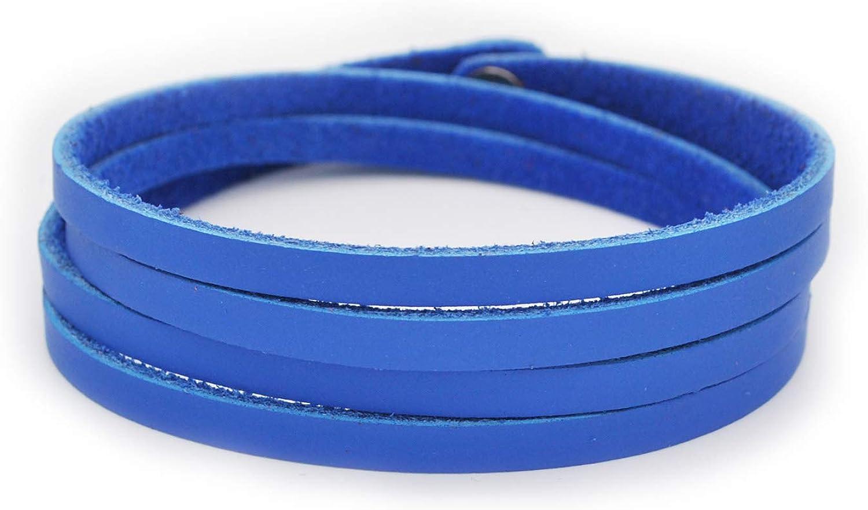 Abbyabbie.Li Leather Bracelet Unisex Leather Cuff Wrap Bracelet Rope Wristband with Three Adjustable Button Leather Bangle for Women /& Men