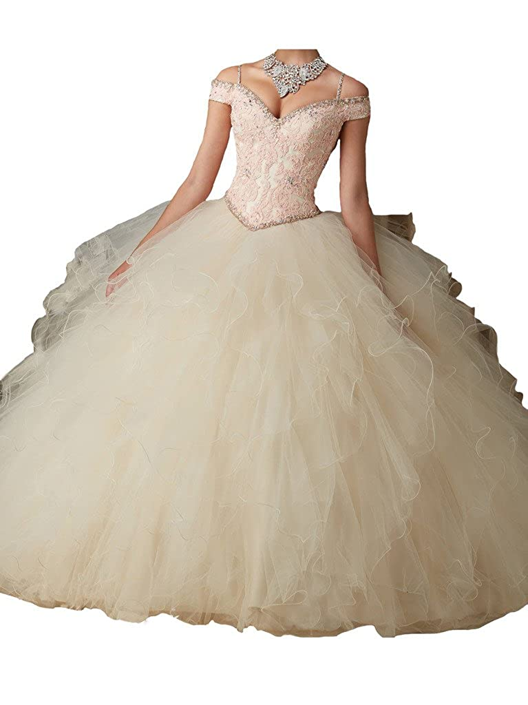 Champagne PuTao Women's Appliques Beads Ruffled Bodies Princess Quinceanera Dresses