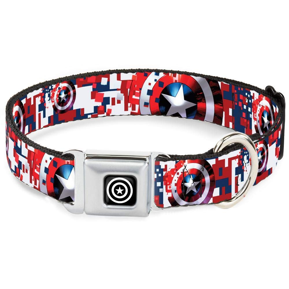 Dog Collar Seatbelt Buckle Captain America Shield Digital Camo bluee White Red 9 to 15 Inches 1.0 Inch Wide