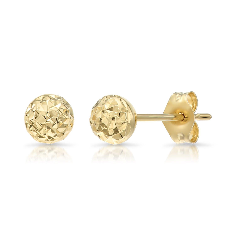 14k Yellow Gold Diamond-cut Ball Stud Earrings (5mm)
