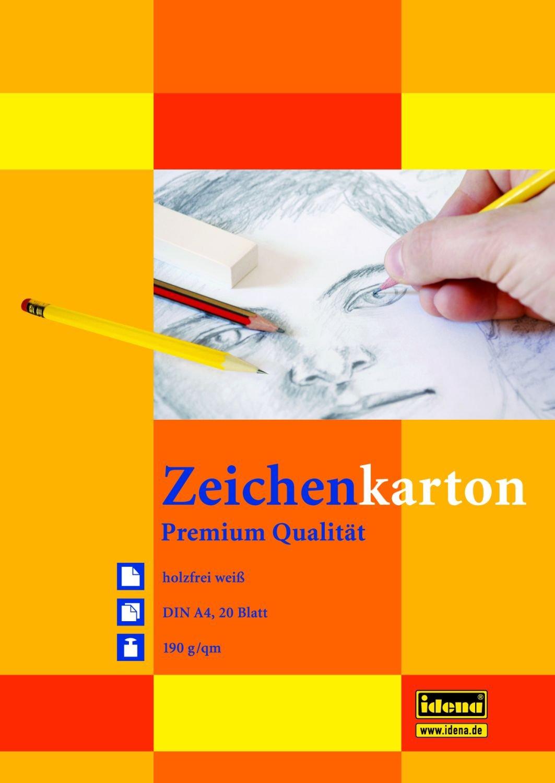 10 Blöcke Zeichenkarton mit je 20 Blatt / DIN A4 / 190g/m² / Farbe: weiß IDENA