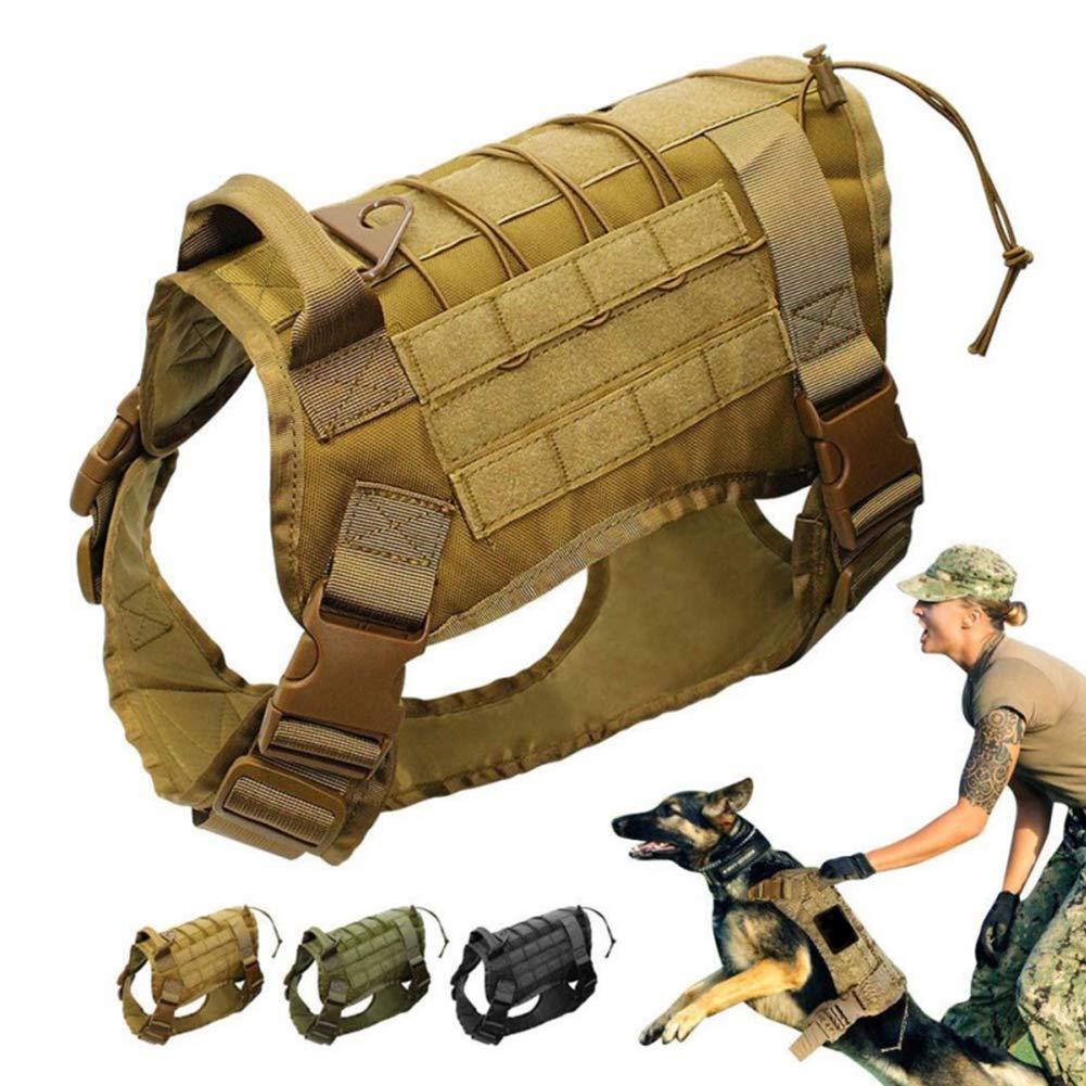 Brown LargeLarge Dog Tactical Vest Training Hunting Molle 1000D Nylon Military Waterproof Vest with 3 Storage Bag  Half Body,Black+3Bag,XL