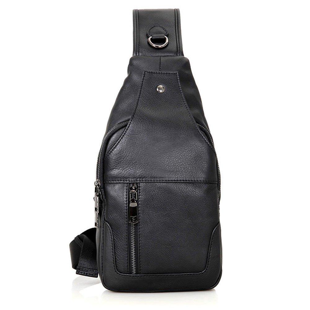 ybriefbagアウトドアスポーツメンズCarry Bag Chest Pack Genuineレザーショルダーバッグクロスボディバッグ胸パックDaypack B07G59HFDH ブラック