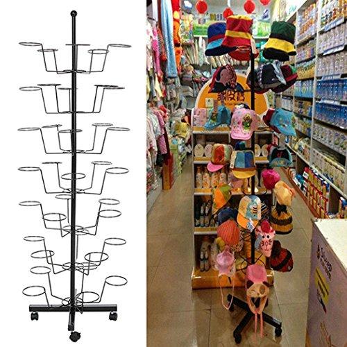 Leoneva 7 Tier 35 Hat Floor Display Hat Rack Rotating Adjustable Metal Stand Cap Retail Organizer (Black, US Stock)
