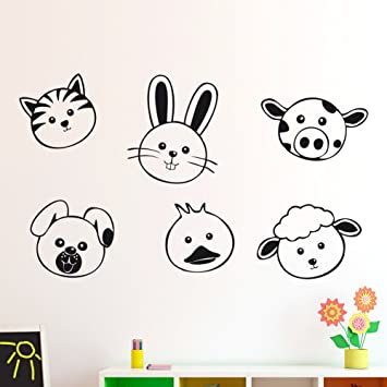 IDEAVINILO - vinilo decorativo infantil: Caras de animalitos, gato, conejo, vaca, perro, pato y oveja Medidas: 90x55 cm: Amazon.es: Hogar